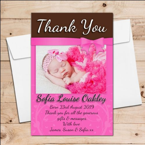 10 Personalised New Baby Girl Birth Announcement Thank You PHOTO cards N91